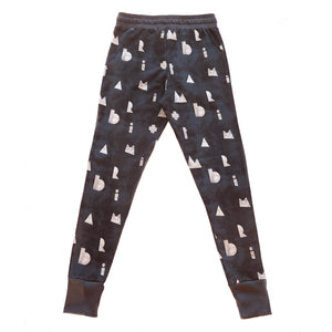 dark casual adult stretch pants with print, organic cotton