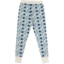 casual adult pants, organic cotton, white waistband and ice crystal print