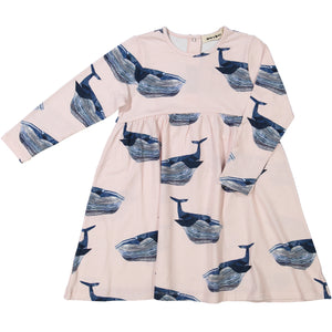 organic cotton kids dress with whale print