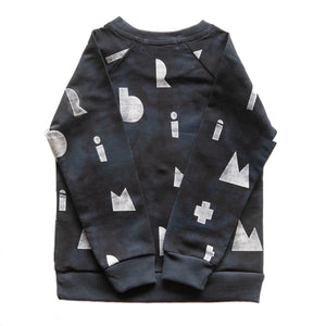kids dark blue sweater with white logo print