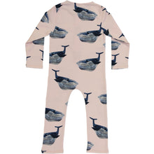 long sleeved kids playsuit, organic cotton, with whale  print