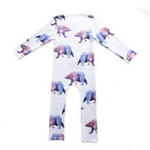 long sleeved kids playsuit, organic cotton, with icebear print