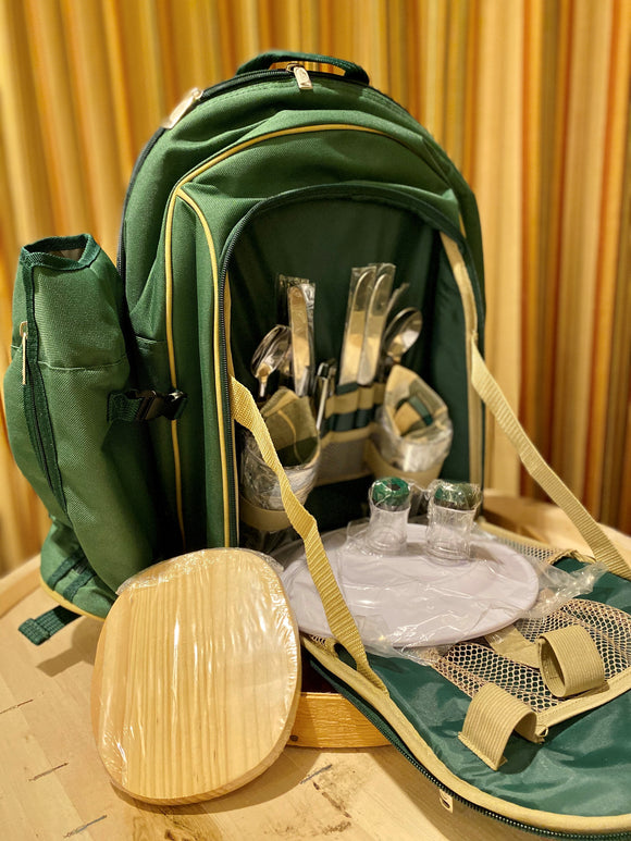 Small Green 2 Person Picnic Basket