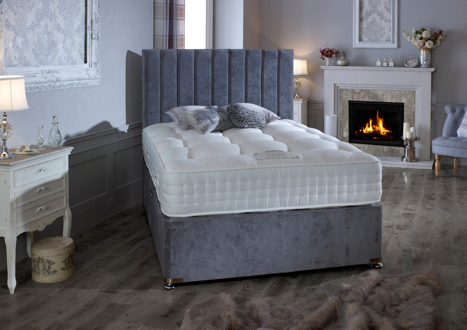 Natural 2000 Silver Divan Bed 30cm deep mattress (medium firm)