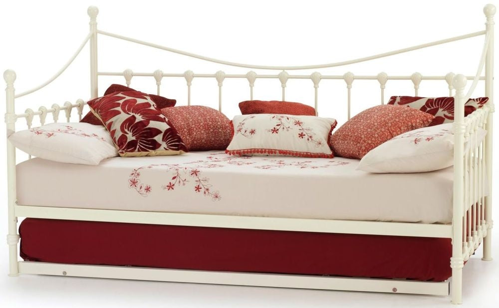 Marseilles Ivory Gloss Metal Day Bed with Guest Bed