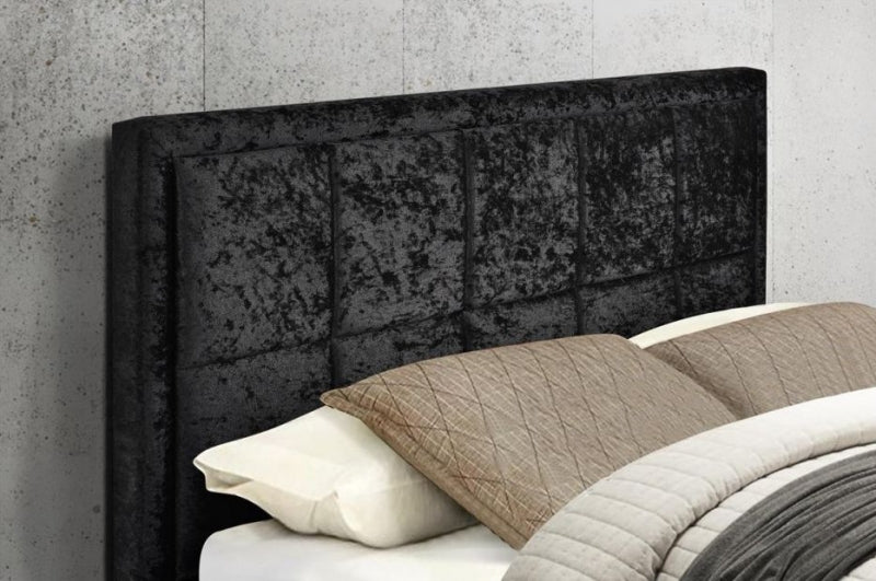 Hannover Ottoman Black Crushed Velvet Fabric Bed
