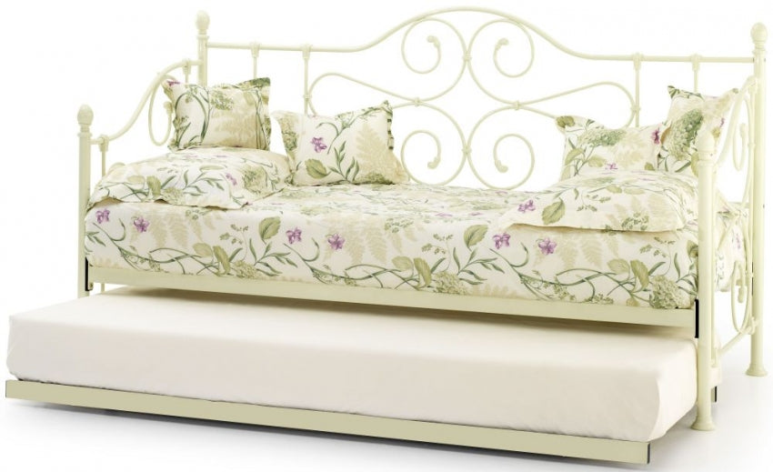 Florence Ivory Metal Day Bed with Guest Bed