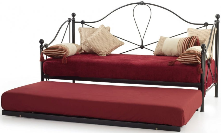 Lyon Black Metal Day Bed with Guest Bed