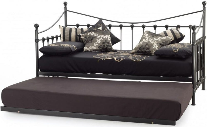 Marseilles Black Metal Day Bed with Guest Bed