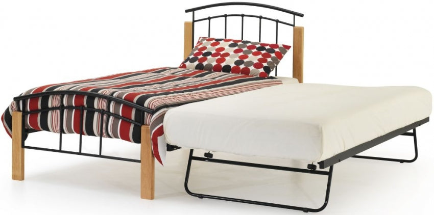 Tetras Beech and Black Metal Guest Bed