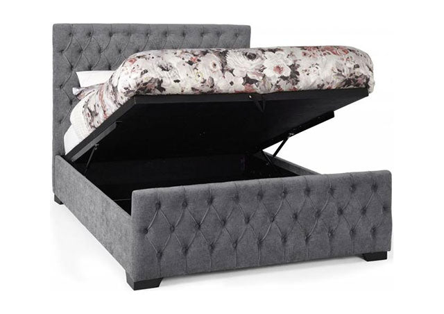 Lillian Steel Fabric Ottoman Bed