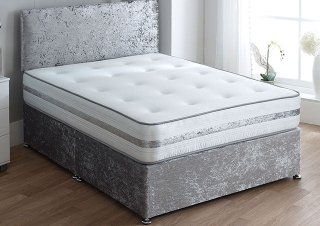 "SPECIAL OFFER Healthcare Supreme Divan Set WITH 20"" YORK HEADBOARD IN GLITZ SILVER (Mattress = Medium-Firm)"