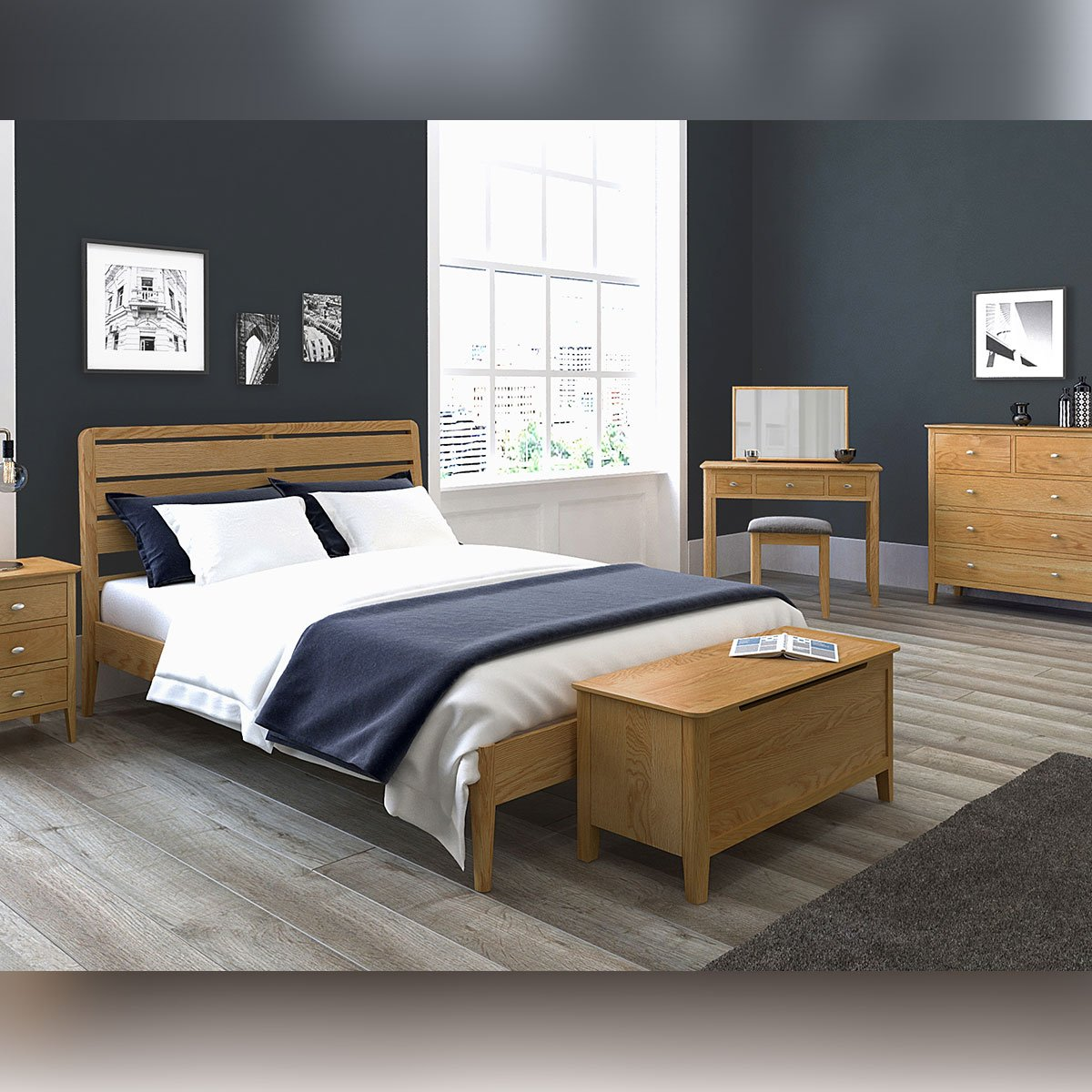"Bath Oak 3ft Single, 4'6"" Double And 5' King Size Bed"