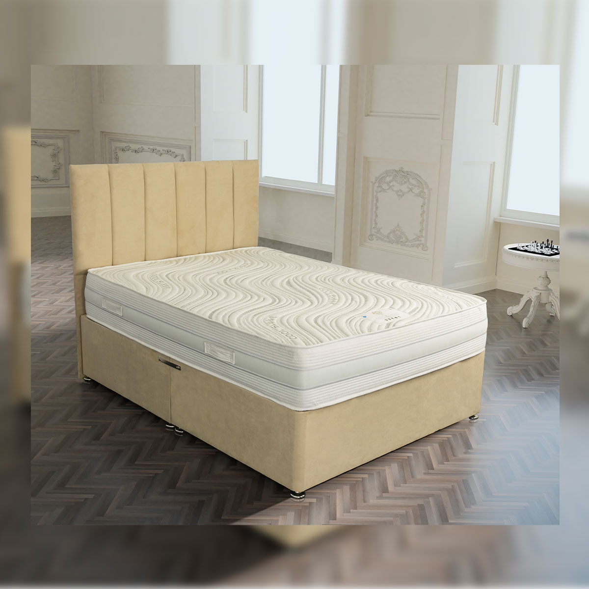 Knightsbridge 1500 Pocket Gel And Memory Foam Encapsulated Divan Bed Set European Sizes Available
