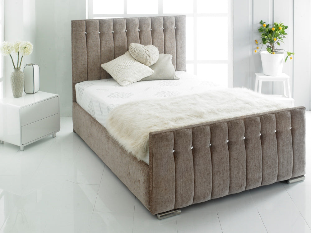 Lavish Chicago Bed Frame | Shown In Chenille Fabric