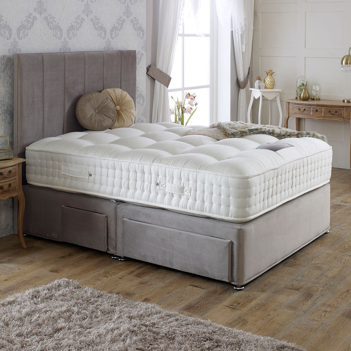 Royal Crown 2000 Divan Bed Set - Medium Firm Mattress 32cm Depth