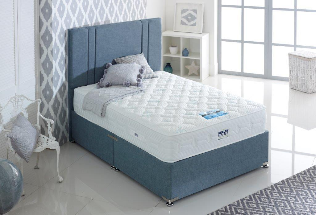 HEALTH THERAPY DIAMOND 2000 POCKET SPRINGS AND COOL BLUE MEMORY FOAM DIVAN BED 26CM DEEP MEDIUM FIRM