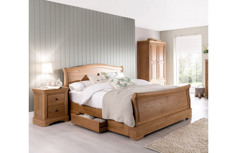 Carmen Oak Sleigh Bed Double King Size And Super King Size