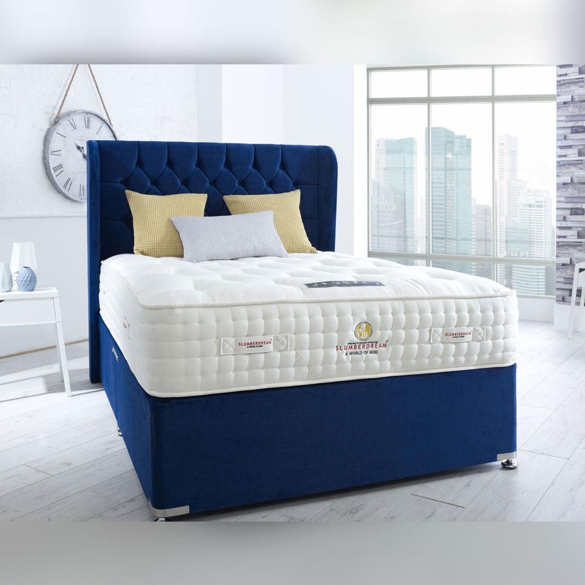 Diamond Collection Natural Empire 12000 Pocket Springs Divan Bed Medium Firm 32cm Deep Mattress