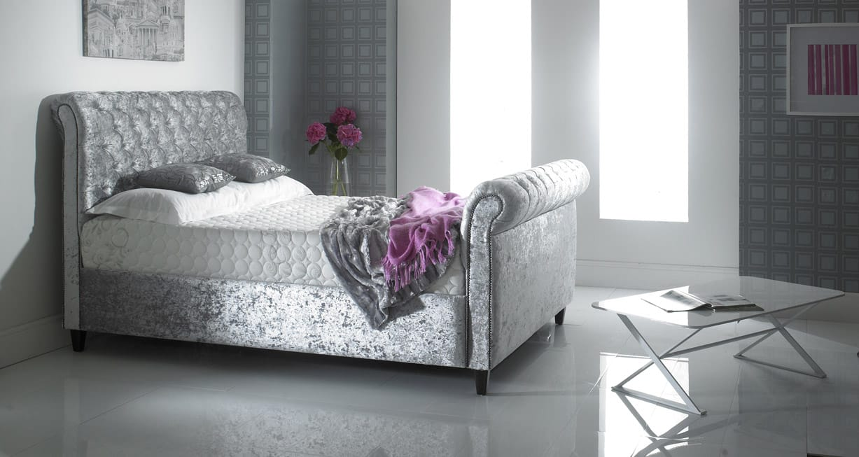 Lavish Chesterfield Fabric Bed
