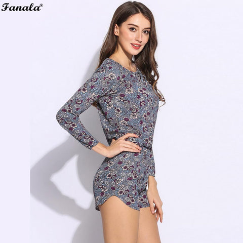 FANALA Romper Playsuits Women Summer Jumpsuit Autumn Long Sleeves Printed Floral Round Collar Sexy Rompers Bodysuit Female m24