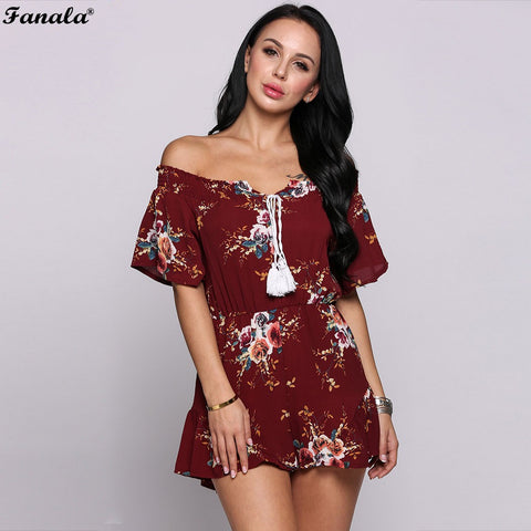 FANALA Summer Jumpsuit Women Sexy Short Sleeve Multicolor Floral Print Tassel Off The Shoulder Ruffle Sheath Rompers #50-30