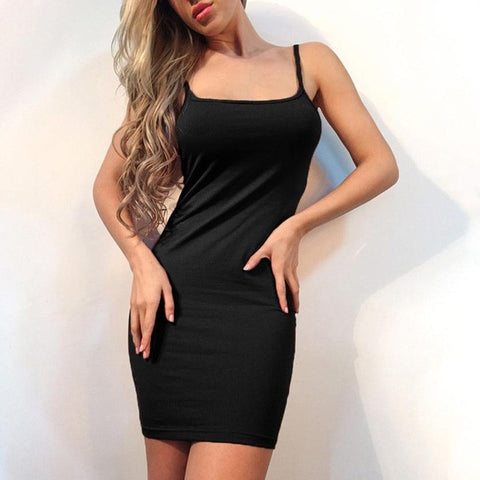 2017 Summer Dress Women Sexy Sheath Sleeveless Evening Party Dresses vestidos  Bodycon Formal Solid Mini Slim Dress - Fab Fash