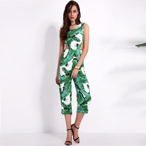 2017 New Summer Womens Jumpsuits Casual Sleeveless Backless Bownot Elegant Overalls Sexy Hollow Out Print Rompers - Fab Fash