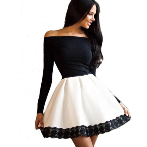 Sexy Autumn Women Dress Black  Solid Off Shoulder Slim Casual Long Sleeve Evening Party Short A-Line Mini Dress for Ladies - Fab Fash