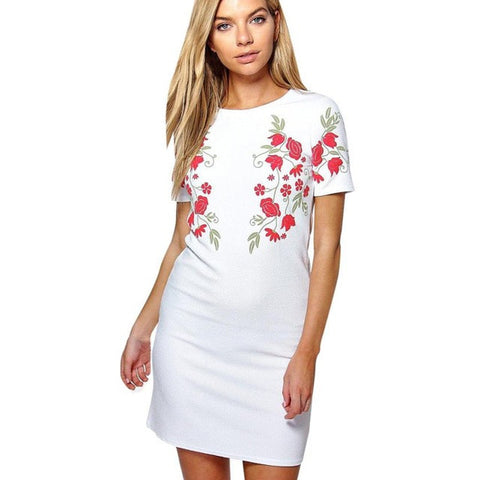 Flower Printing Dress Women Ladies Casual O Neck Short Sleeve Straight Mini Dress Black White2017 Summer Dress vestidos - Fab Fash