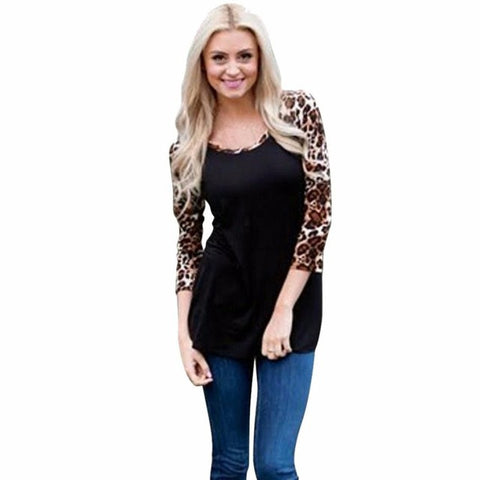 Women T Shirts Loose Long Sleeve Leopard Printing Splicing Shirt Casual Round Neck Tops Black White Red #LSW