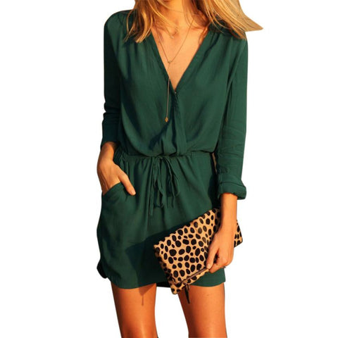 2016 Newest sundress summer Women V Neck Green Long Sleeve Chiffon Party Dress Evening Casual Summer Mini Dress Fashionable - Fab Fash
