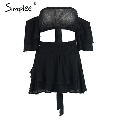 Simplee Off shoulder ruffles women jumpsuit romper Sexy high waist cross lace up backless overalls Summer elastic beach jumpsuit