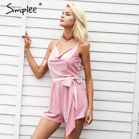 Simplee Strap velvet jumpsuit romper women Casual v neck sashes short overalls 2017 autumn jumpsuit female streetwear playsuit