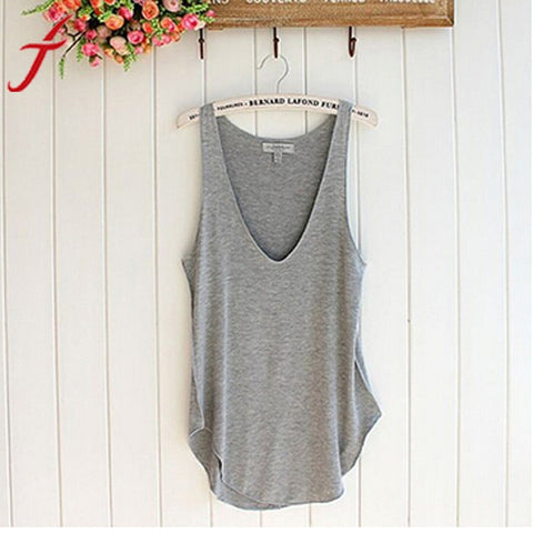 Hot Sale ! Fashion Summer Crop Tops Women 2017 Sexy Lady Sleeveless V-Neck Candy Vest Loose Tank Tops Loose Feminino shirt
