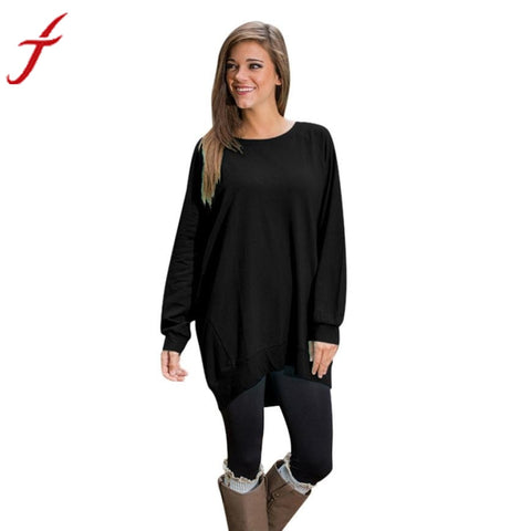 Fashion Loose Shirt Women Long Sleeve Round Collar Tunic Top Ladies Pullover 5 Candy Colors Long T-Shirt S M L XL