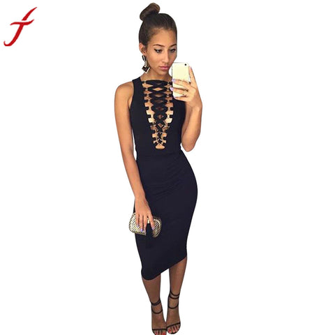 Fashion Women Dress Sleeveless Sexy Black Bandage Hollow Out Evening Party Dress Short Knee-Length Dress - Fab Fash