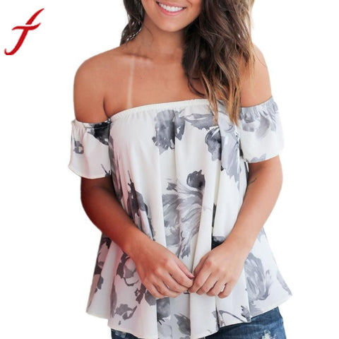 2017 Sexy Off Shoulder Blouse Women Floral Printed Casual Short Sleeve Tops Hot Summer female blouse shirt loose white blusas