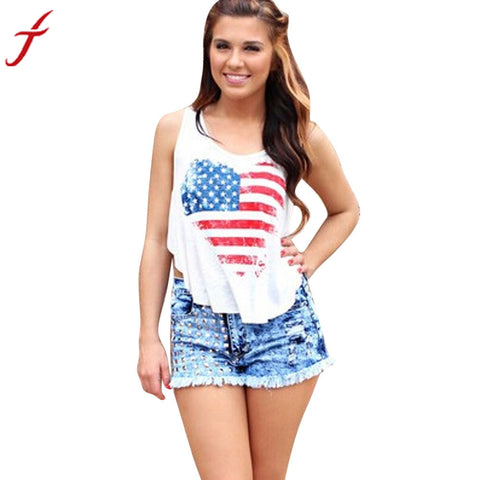 2017 Fashion America Flag Printing T-shirt Women Sexy Sleeveless O-Neck Tank Tops Vest Cotton White Shirt Top
