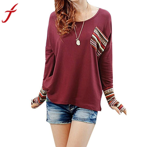 JECKSION Womens Blouse 2016 Fashion Long Sleeve O-Neck Patchwork Loose Blouse Cotton Blend Tops - Fab Fash