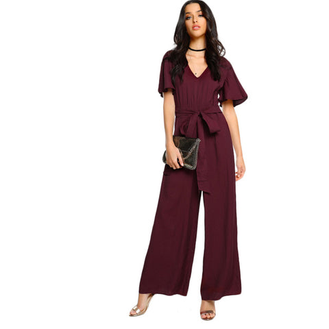 Sheinside Sexy Choker Neck Self Tie Bow Belt Palazzo Jumpsuit 2017 Ladies Burgundy V neck Short Sleeve Elegant Jumpsuit - Fab Fash