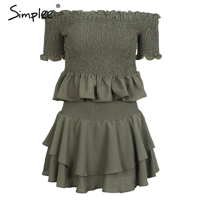 6adda4900d Simplee Soft chiffon fabric off shoulder pleated pantdress Elastic two-piece  playsuit romper women Vintage
