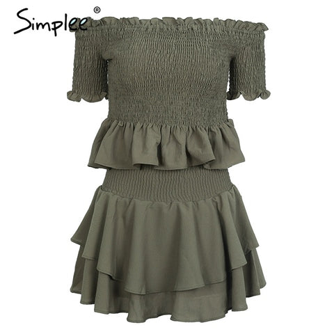 Simplee Soft chiffon fabric off shoulder pleated pantdress Elastic two-piece playsuit romper women Vintage playsuit female
