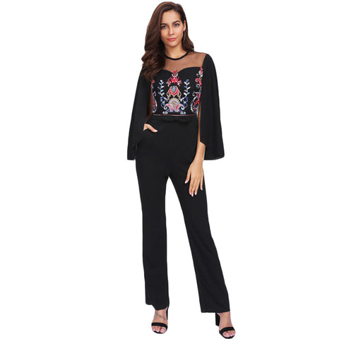 SHEIN Cape Sleeve 	Contrast Mesh Insert Embroidered Tailored Jumpsuit Black Mid Waist Skinny Long Sleeve Jumpsuit