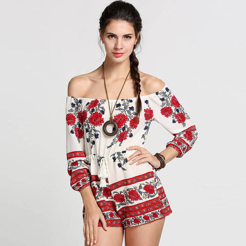 Women Jumpsuits Sexy Off Shoulder Red Floral Print Slash Neck Romper 2018 Summer Style Beach Short Playsuit Women Overalls