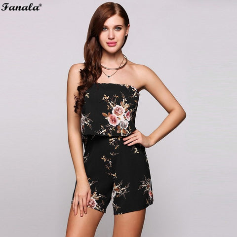 FANALA Playsuit Summer Women Jumpsuit 2018 Sexy Off the Shoulder Beach Bodysuit Sleeveless Printed Floral Rompers Female #20-30