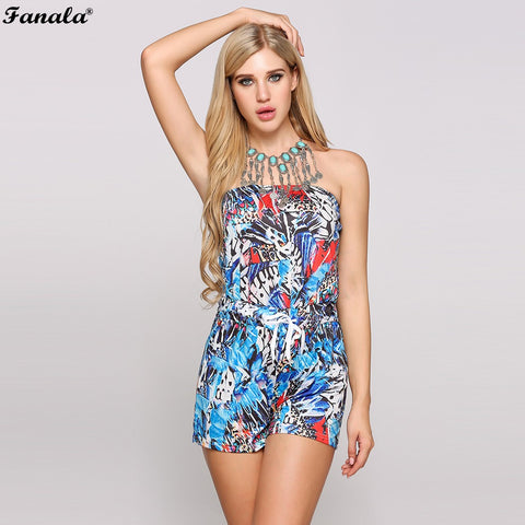 FANALA Jumpsuits Women 2018 Playsuit Fashion Halter Backless Off The Shoulder Floral Print Rompers Beach Drawstring Shorts#40