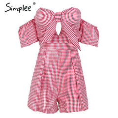 Simplee Off shoulder plaid jumpsuit romper women Sexy backless bow high waist playsuit femal Summer beach 2018 short overalls