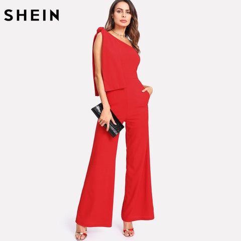 SHEIN Red Jumpsuits Summer One Shoulder Sleeveless Mid Waist Party Jumpsuit Knot Palazzo Zipper Rompers Womens Jumpsuit - Fab Fash