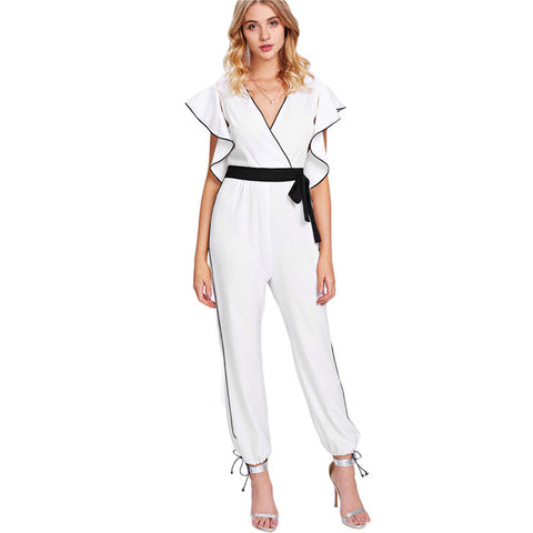 SHEIN Jumpsuits for Women Butterfly Sleeve Deep V Neck Sexy Belted Jumpsuit White High Waist Cap Sleeve Wrap Striped Jumpsuit - Fab Fash